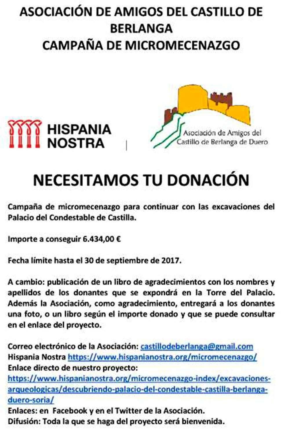 Micromecenazgo para financiar las excavaciones del Palacio del Condestable