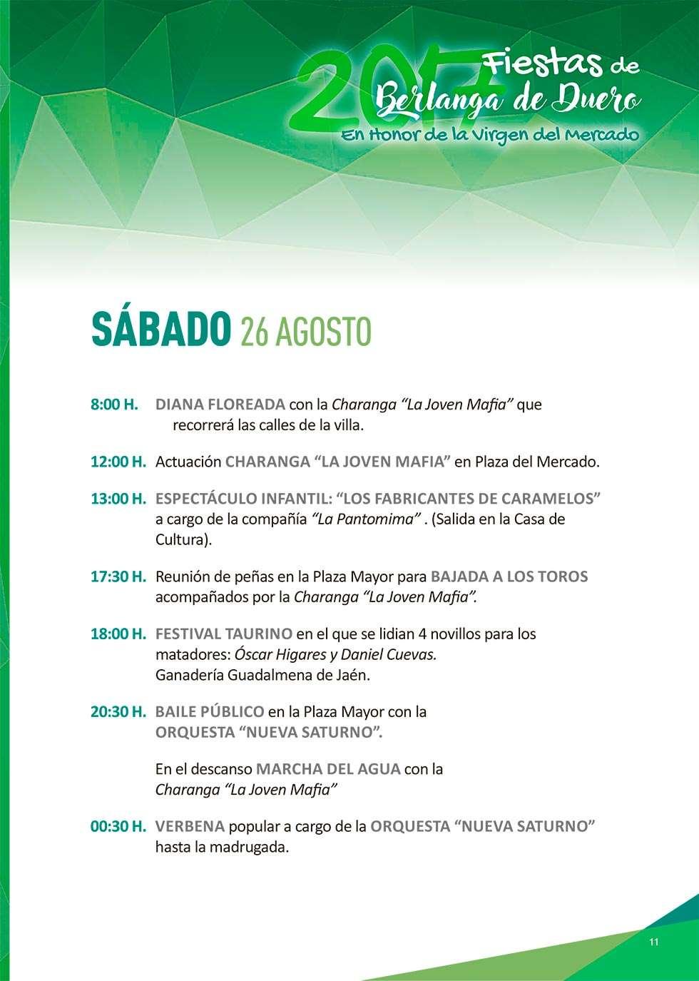 Programa de las fiestas de Nuestra Señora del Mercado, en Berlanga de Duero