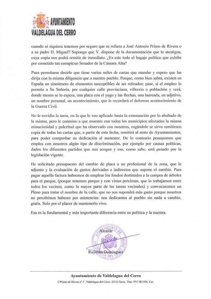 Carta de Valdelagua del Cerro al senador Carles Mulet