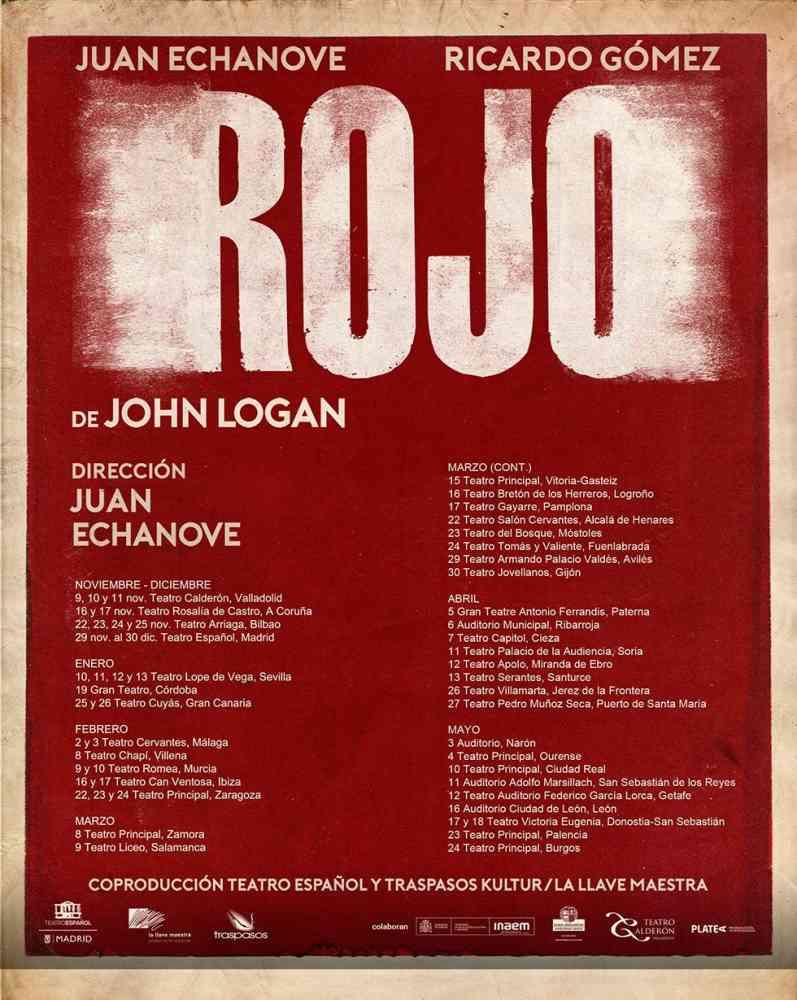 "La gira de ""Rojo"", de Juan Echanove, incluye a Soria"