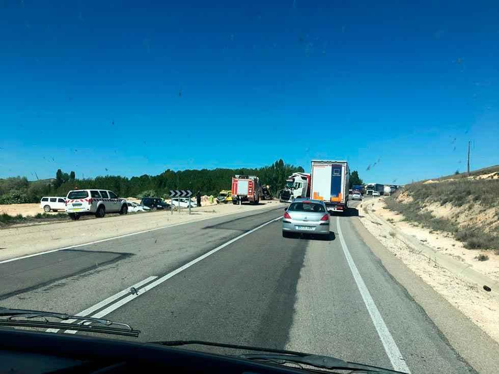 Herido en un accidente en N-122, en Langa de Duero