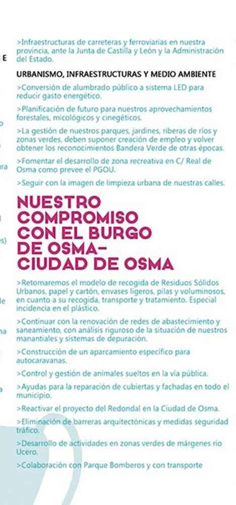 El programa de la PPSo para El Burgo de Osma