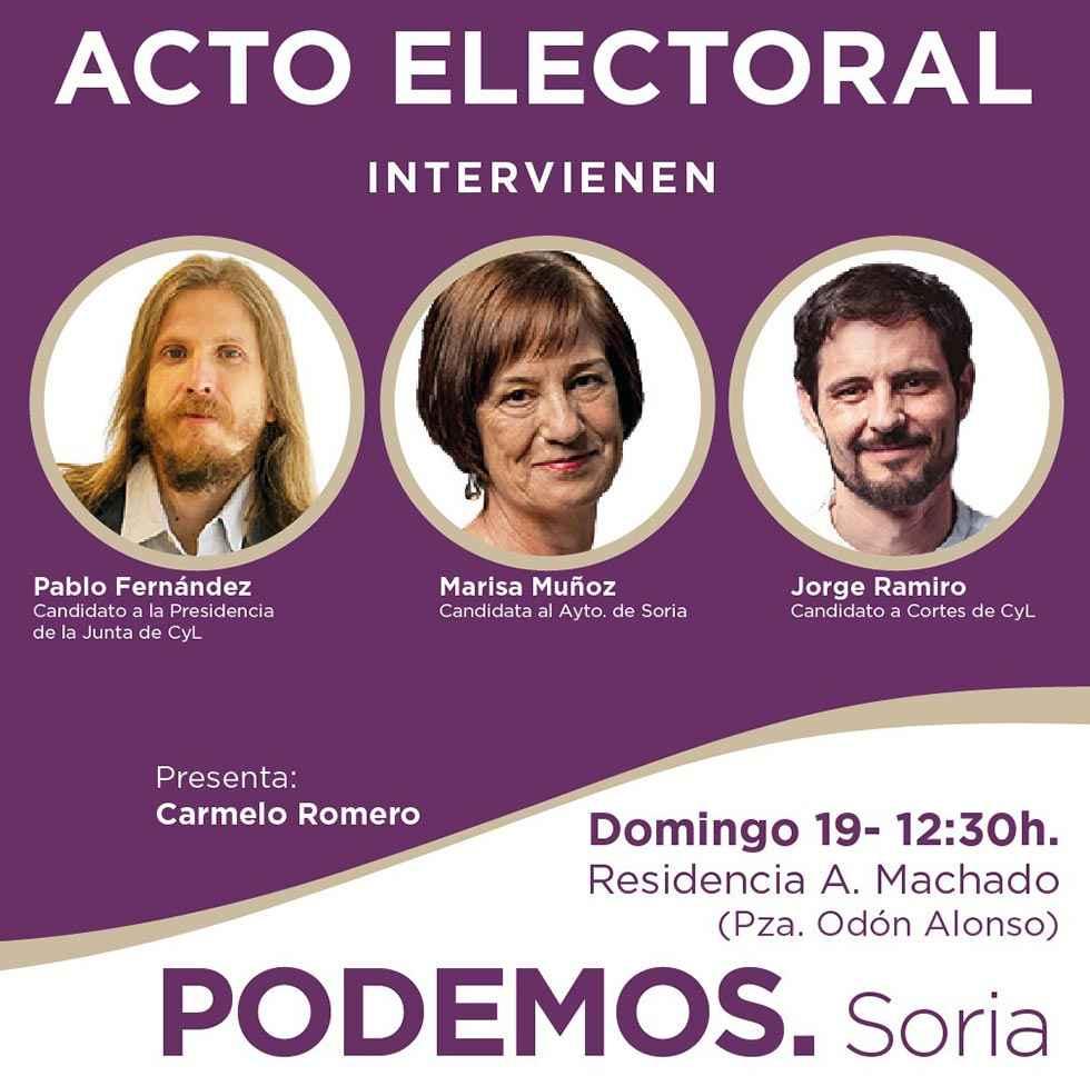 Mitín de Pablo Fernández (Podemos) en Soria