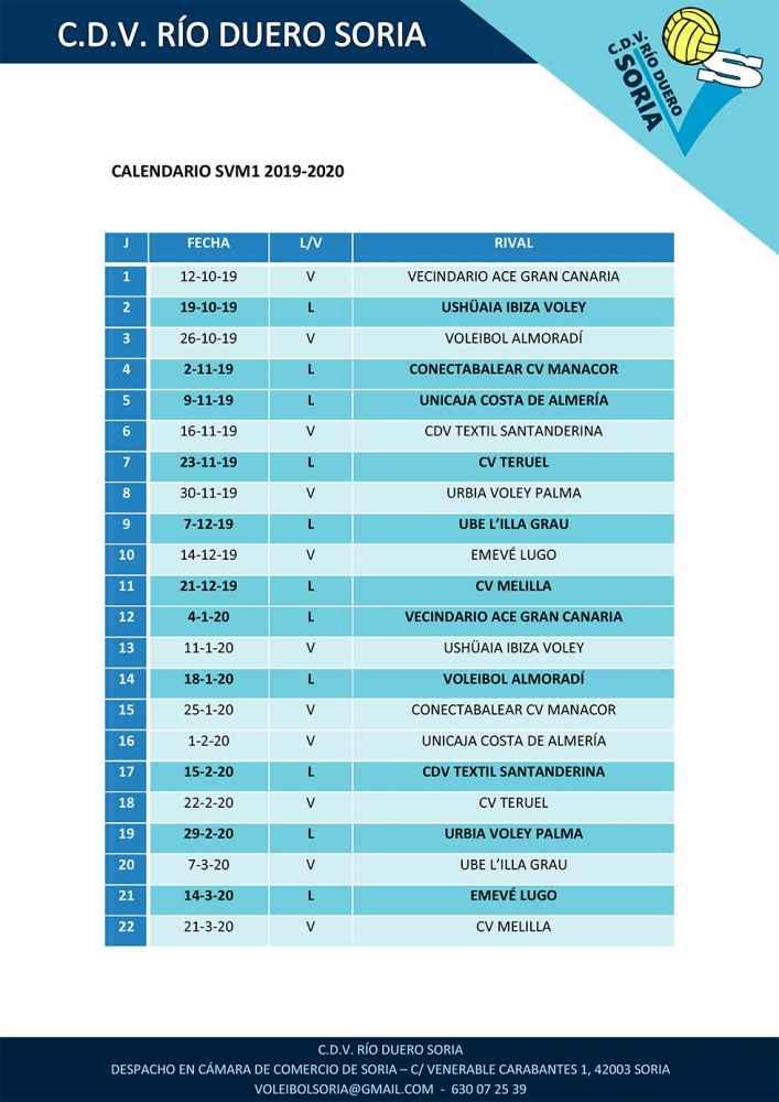 El Río Duero Soria conoce el calendario de la Superliga