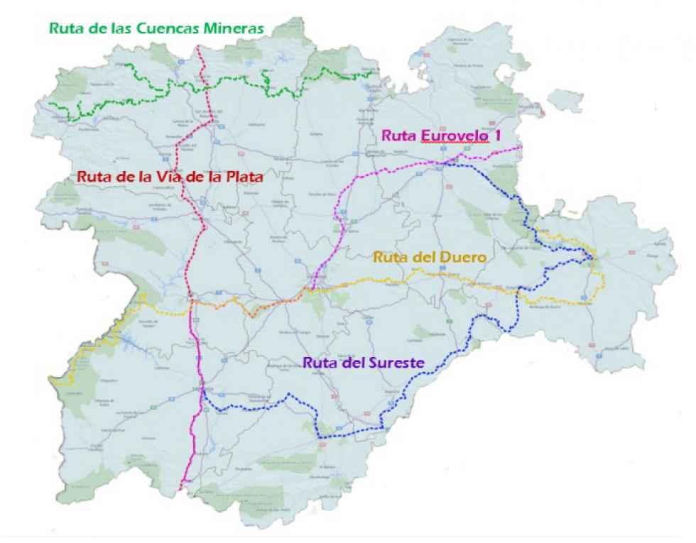 La Junta señaliza este verano cinco grandes rutas cicloturistas