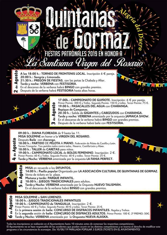 Programa de las fiestas patronales de Quintanas de Gormaz