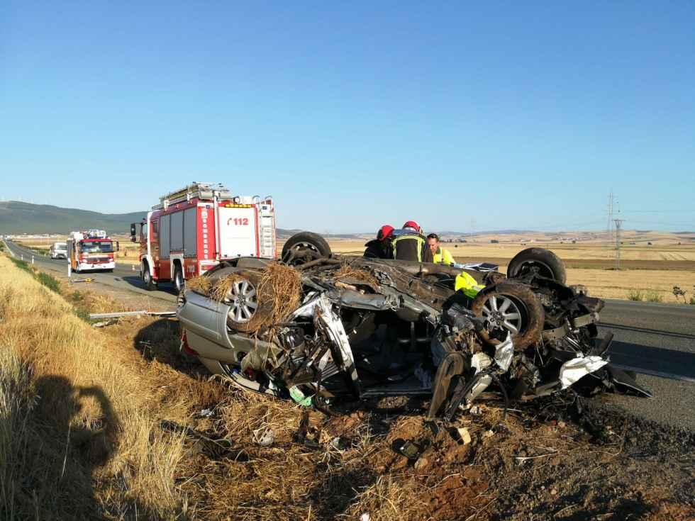 Fallece el conductor del accidente de coche en N-122, en Matalebreras