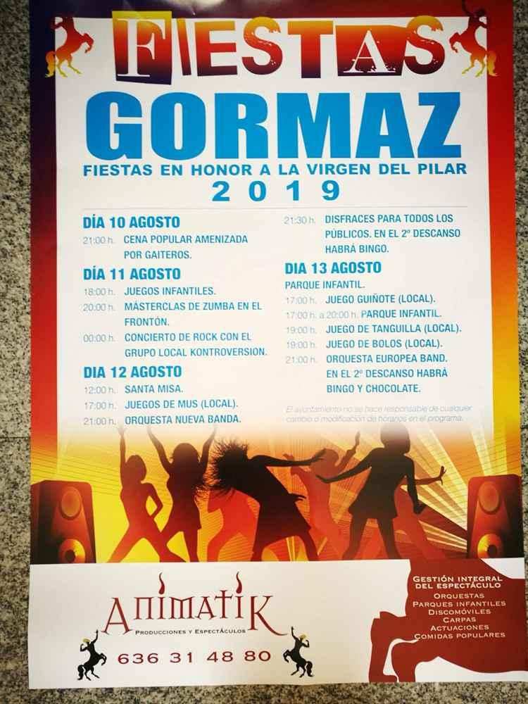 Programa de las fiestas patronales de Gormaz
