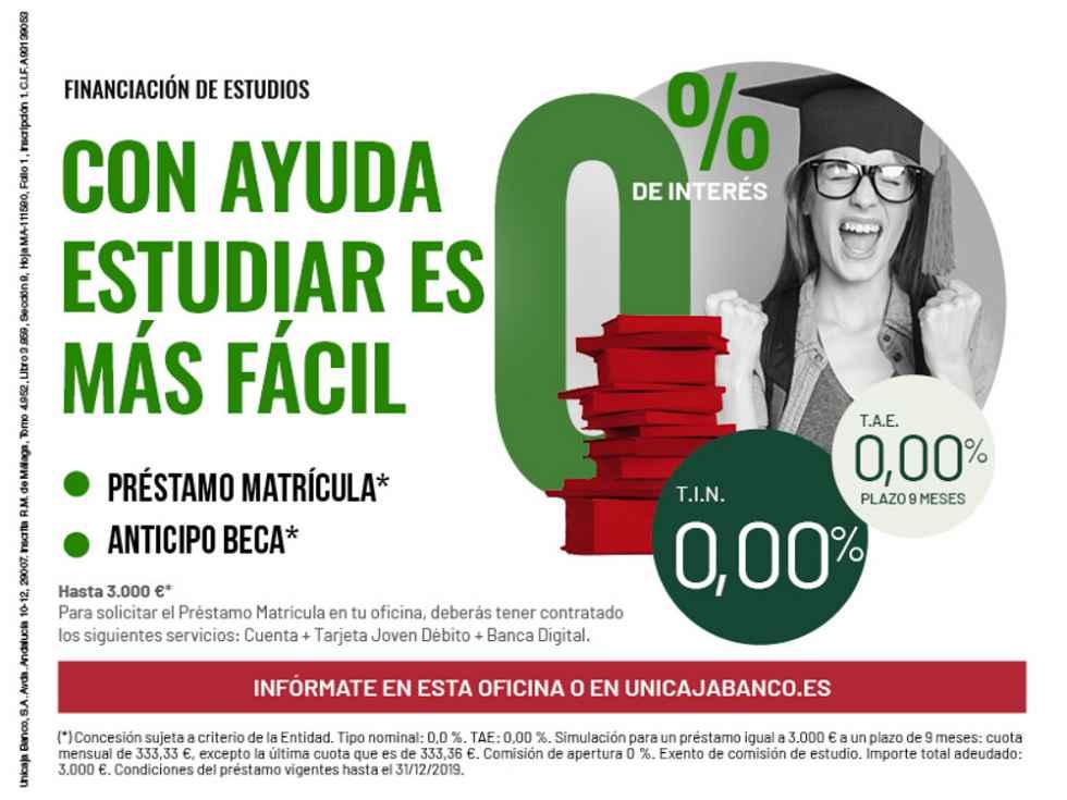 Unicaja Banco facilita a universitarios el pago de la matrícula