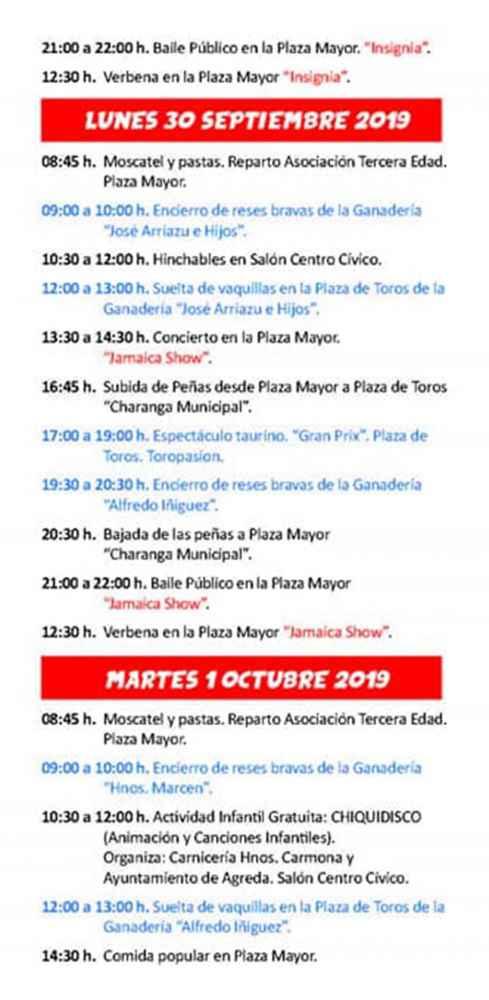 Programa de las fiestas de San Miguel, en Ágreda