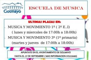 Inscripciones para la Escuela y la Banda de Música de Golmayo