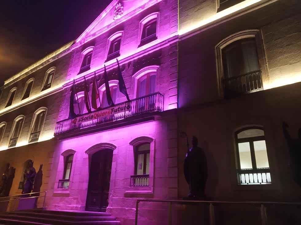 El Palacio provincial, de rosa, en el Día Internacional del Cáncer