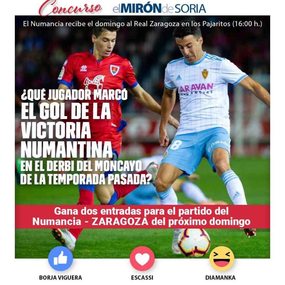 Gana dos entradas para ver el Numancia-Zaragoza