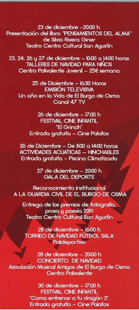 Programa de Navidad en El Burgo de Osma