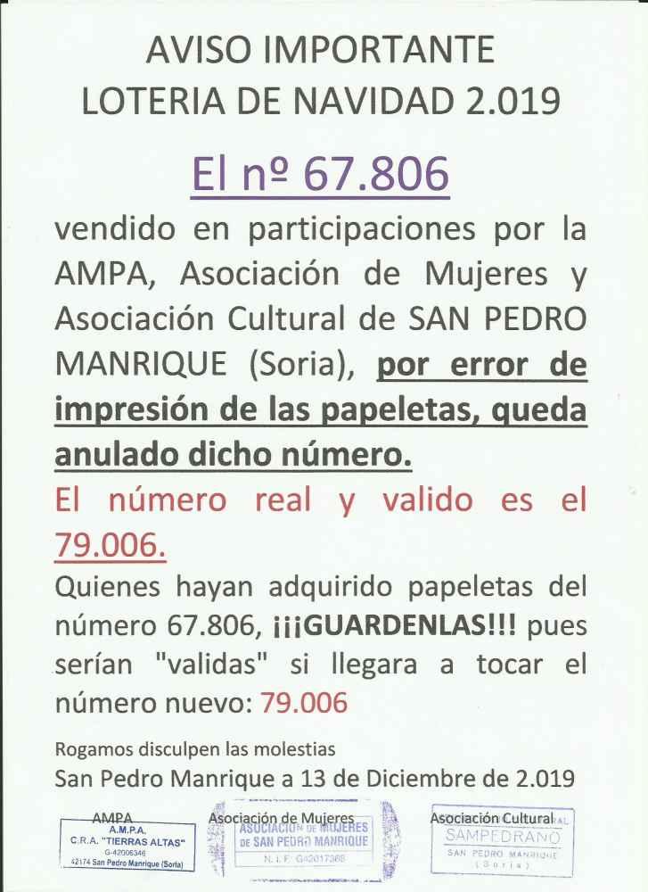 Aviso sobre número de lotería en San Pedro Manrique