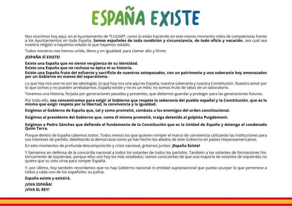 """""""España existe"""" pide respetar el orden constitucional"""