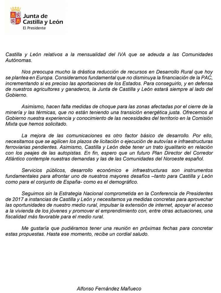Mañueco envia una carta al presidente del Gobierno