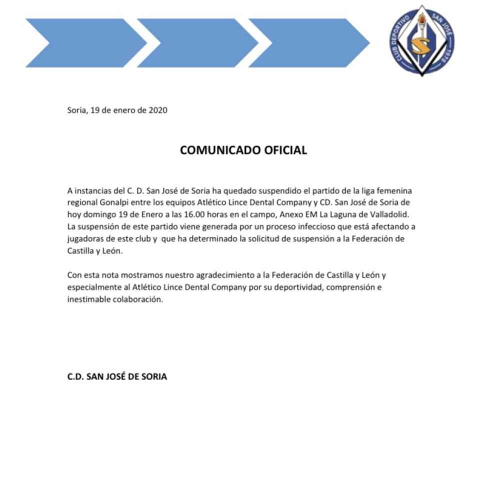 Las paperas obligan a suspender entrenamientos a C.D. San José