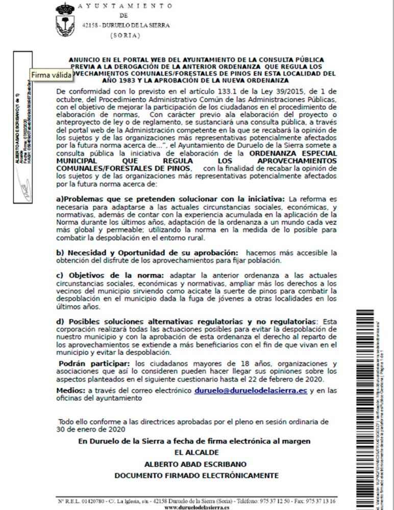 Duruelo consulta para cambiar ordenanza de aprovechamientos