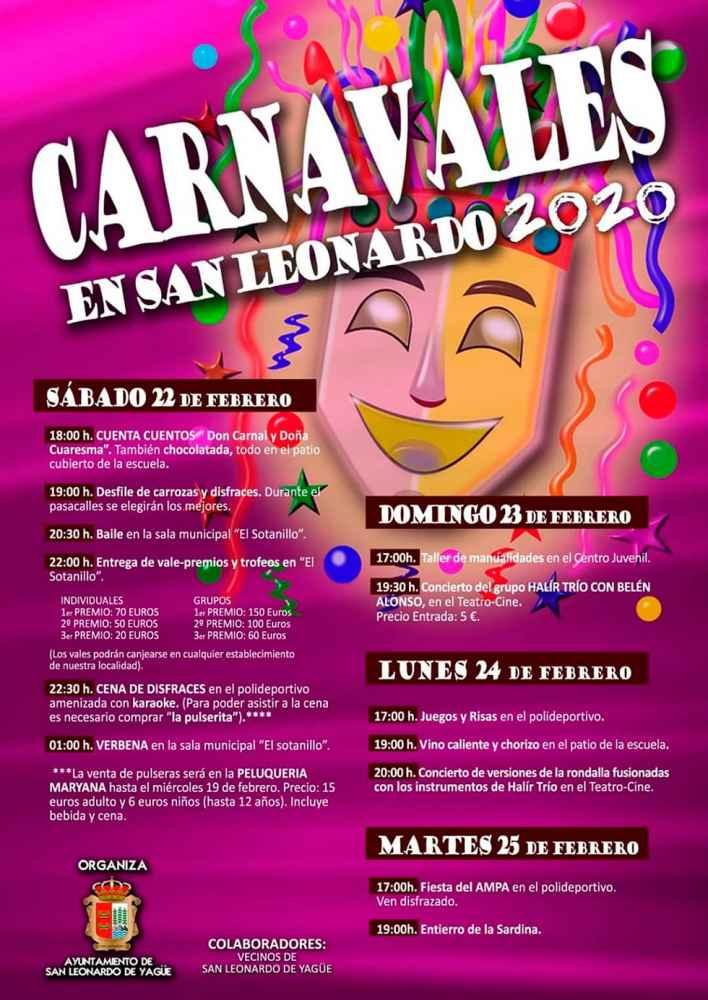 Programa de los carnavales en San Leonardo de Yagüe