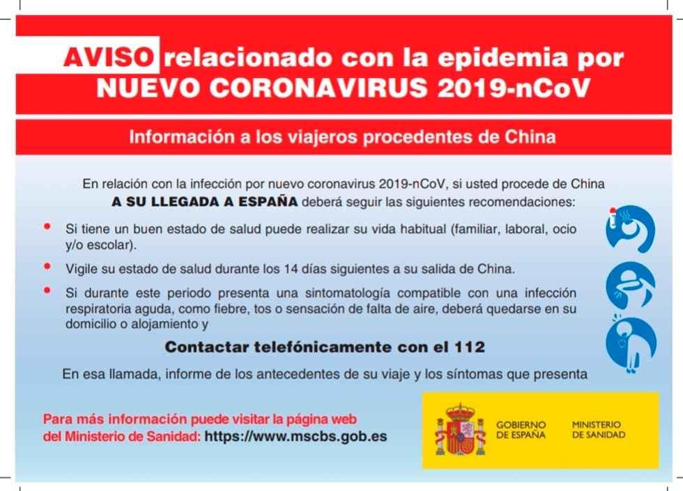 Pautas sobre el coronavirus para viajeros procedentes de China