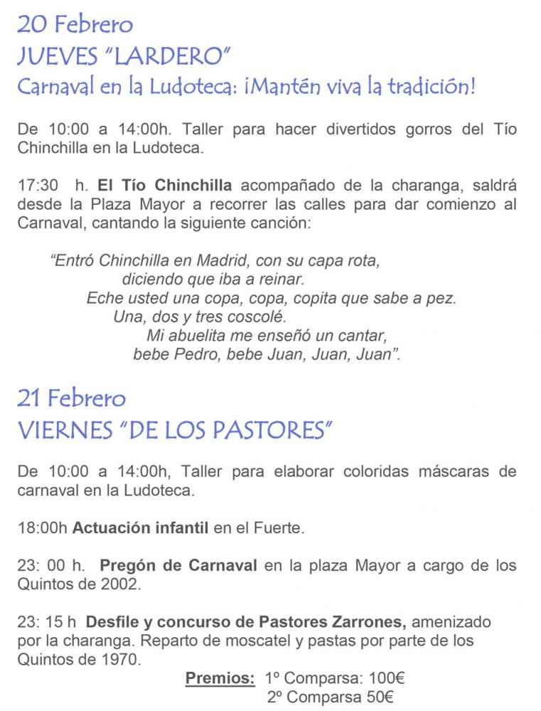 Programa oficial para los carnavales en Ágreda