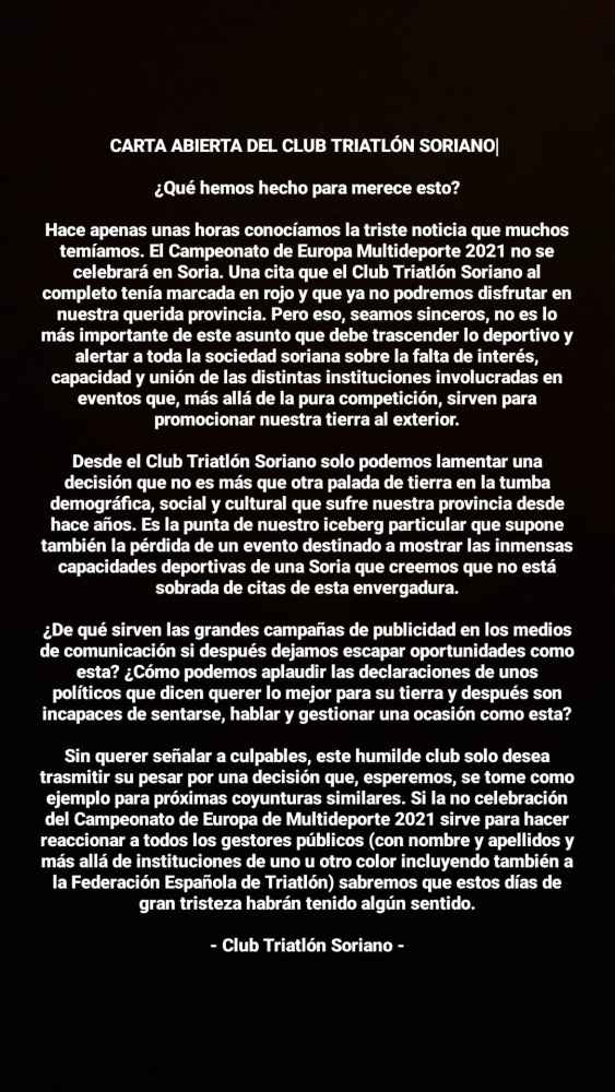 Carta abierta del Triatlón Soriano
