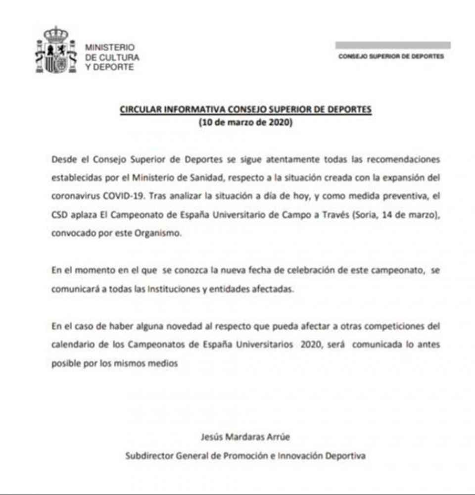 Aplazado el Campeonato de España de Cross universitario