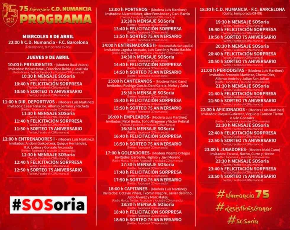 Programa para conmemorar el 75 aniversario del Numancia