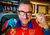 Carlos Herrera, con la camiseta del Numancia