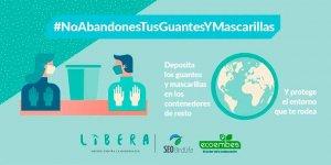 Campaña para depositar guantes y mascarillas en contenedor