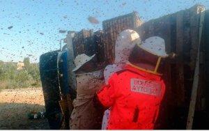 Vuelca en Cadosa un camión con panales de abejas