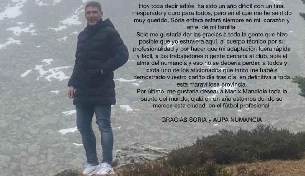 Luis Carrión se despide de la afición numantina