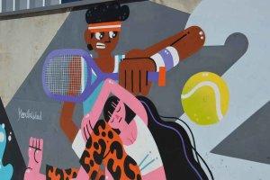 Pintura mural en el pabellón de la Juventud - fotos