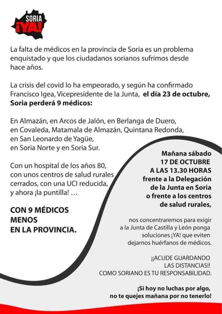 Soria ¡Ya! se concentra contra pérdida de médicos