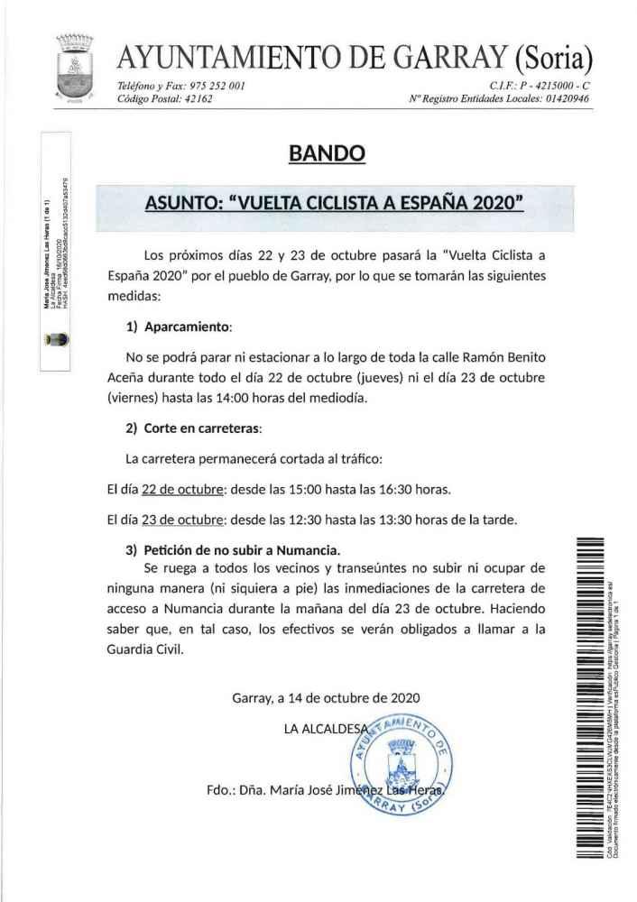 Bando en Garray para la etapa de la Vuelta Ciclista a España