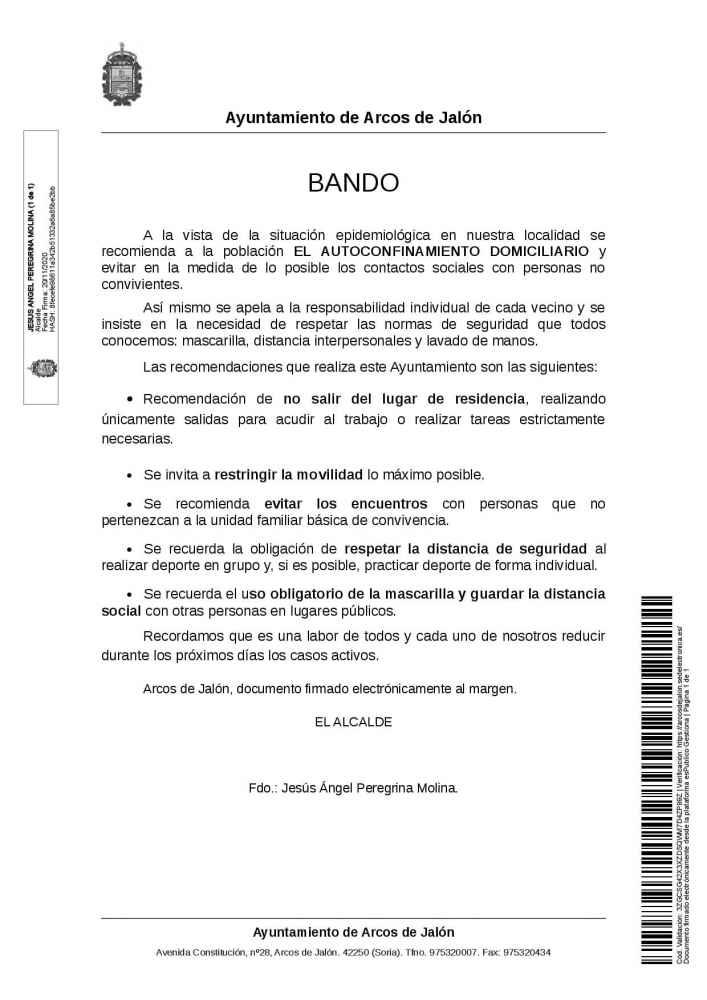 Autoconfinamiento domiciliario en Arcos de Jalón
