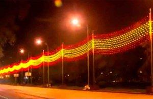 Madrid ilumina la Navidad con la bandera nacional