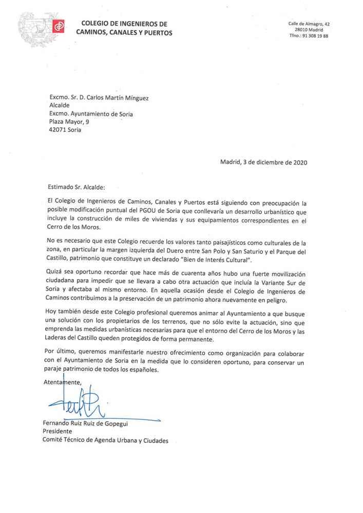 La carta sin contestar sobre el Cerro de los Moros
