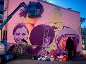 El mural de cinco nombres propios del feminismo