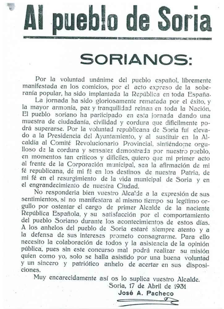 Asi se proclamó la II República en Soria