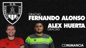 El Numancia, sin Fernando Alonso y Alex Huerta