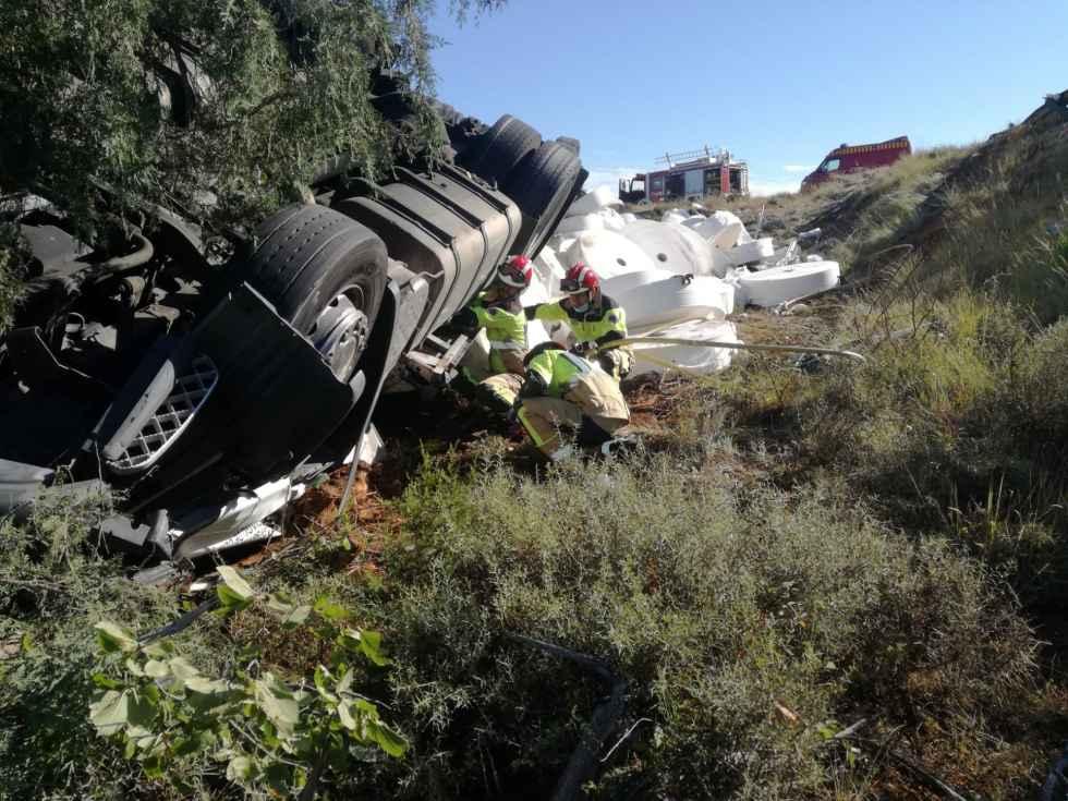 Camionero herido en el puerto del Temeroso